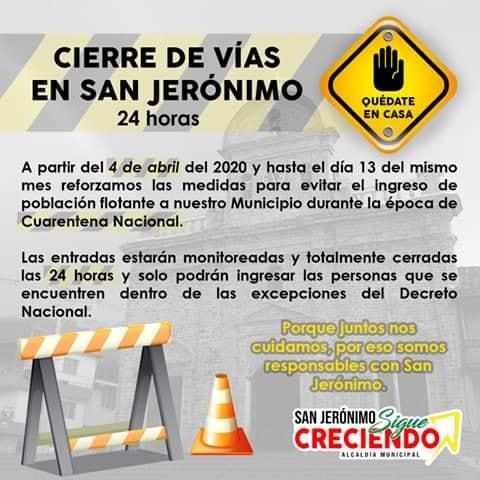 San Jerónimo Antioquia monitoreara sus entradas