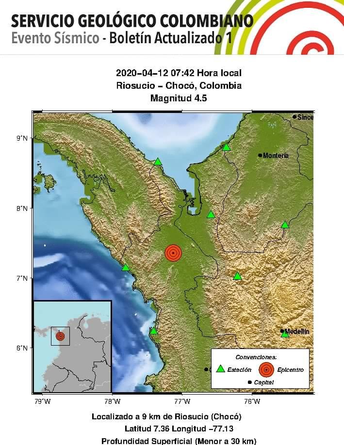 Tembló en Colombia este 12 de Abril del 2020