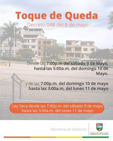 Toque de queda en Santa Barbara Antioquia
