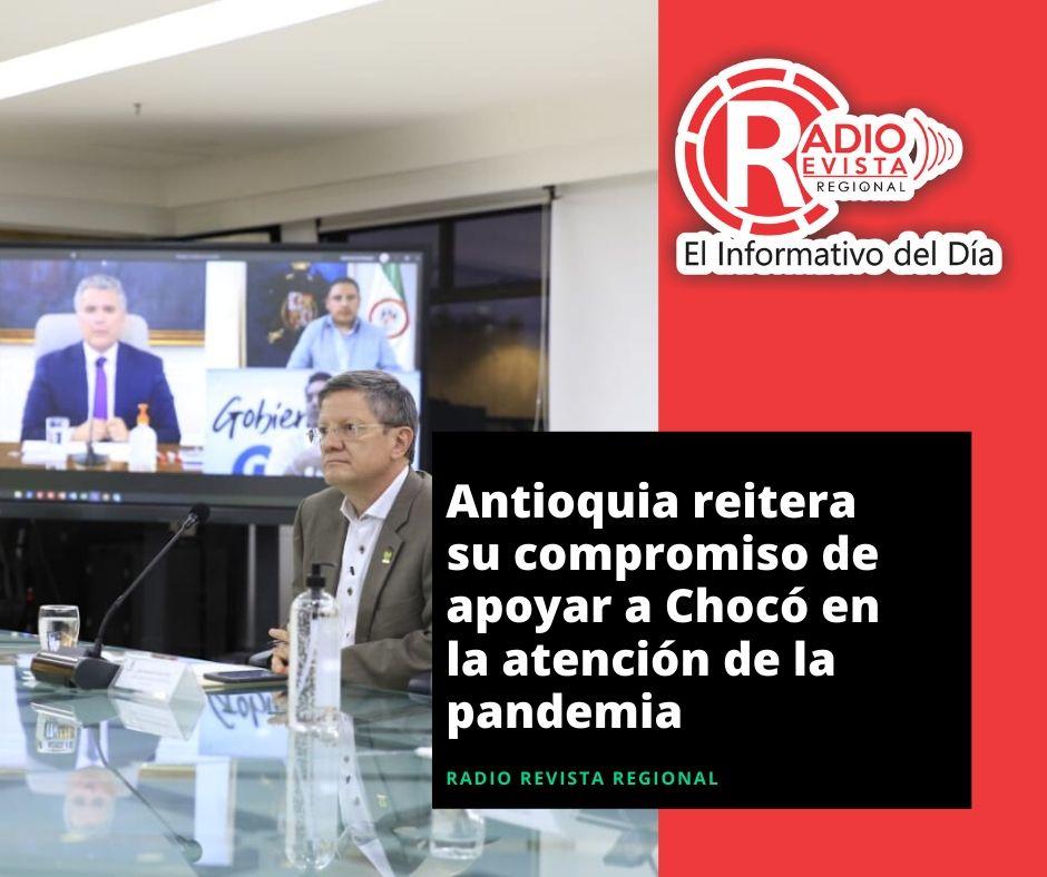 Antioquia reitera su compromiso de apoyar a Chocó en la atención de la pandemia