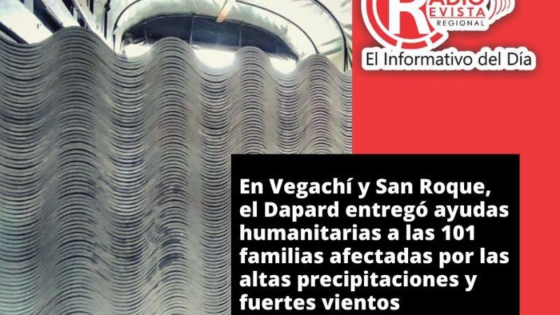 En Vegachí y San Roque, el Dapard entregó ayudas humanitarias a las 101 familias afectadas por las altas precipitaciones y fuertes vientos