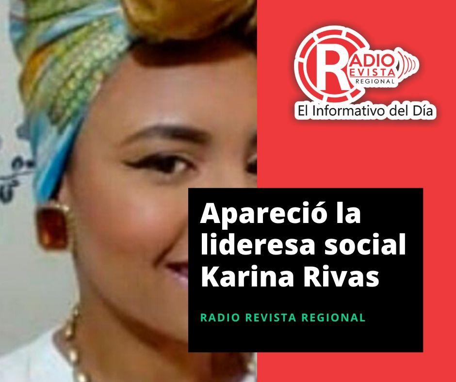 Apareció la lideresa social Karina Rivas