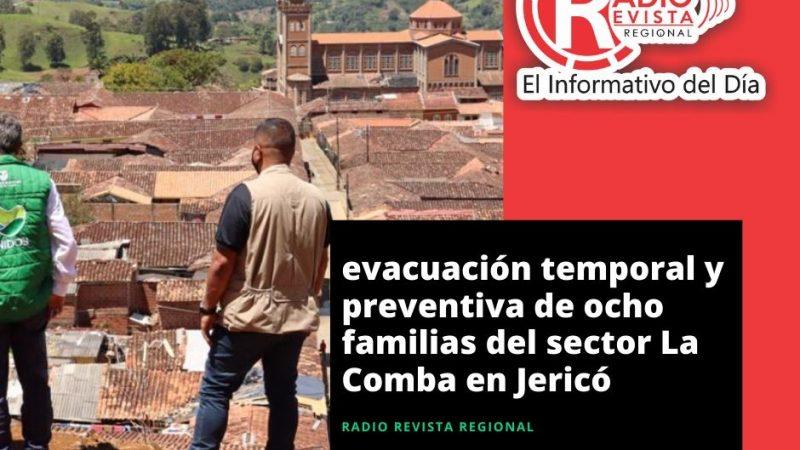 Evacuación temporal y preventiva de ocho familias del sector La Comba en Jericó