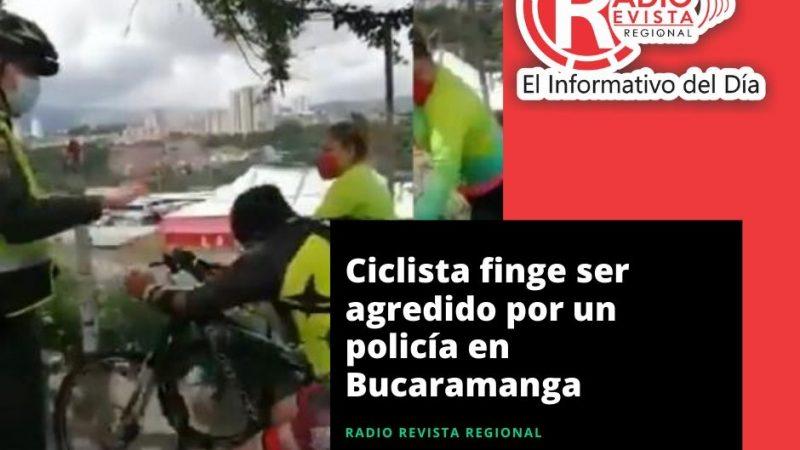 Ciclista finge ser agredido por un policía en Bucaramanga