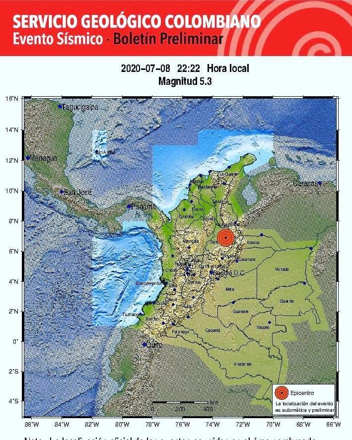 Fuerte sismo en el departamento de Santander sacudió el país.