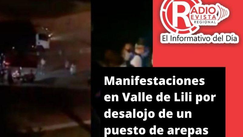 Manifestaciones en Valle de Lili por desalojo de un puesto de arepas