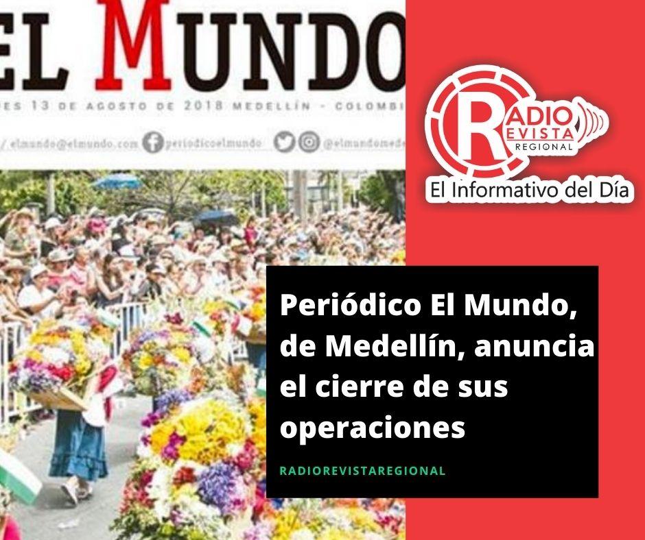 Periódico El Mundo, de Medellín, anuncia el cierre de sus operaciones