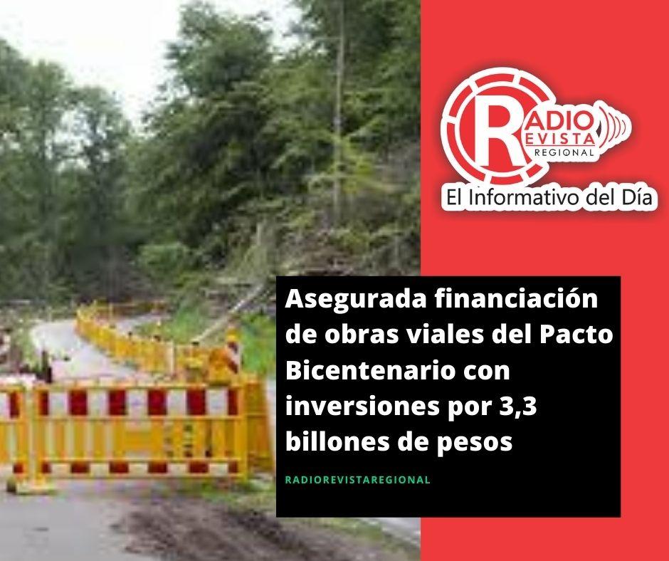 Asegurada financiación de obras viales del Pacto Bicentenario con inversiones por 3,3 billones de pesos