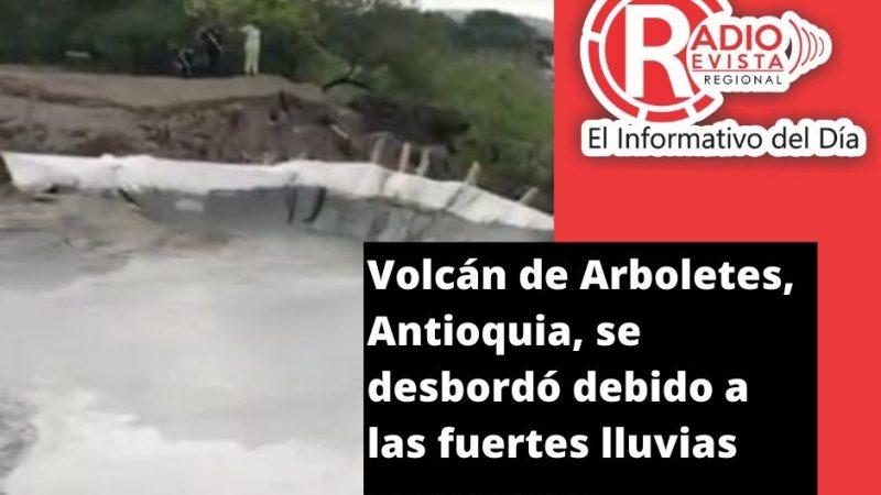 Volcán de Arboletes, Antioquia, se desbordó debido a las fuertes lluvias