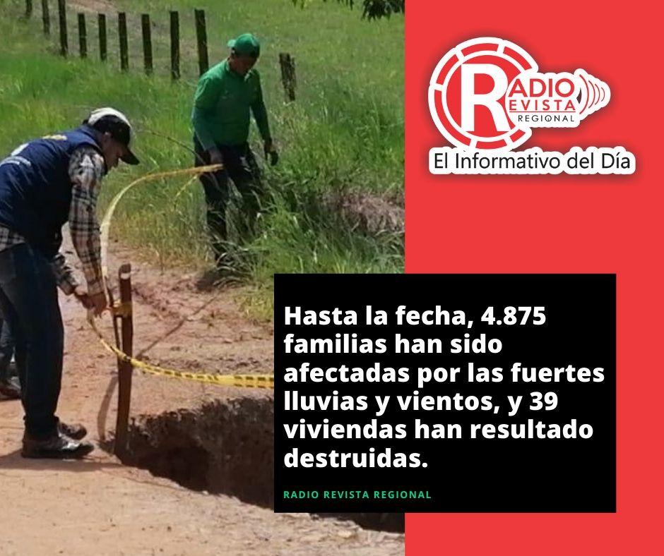 Hasta la fecha, 4.875 familias han sido afectadas por las fuertes lluvias y vientos, y 39 viviendas han resultado destruidas.
