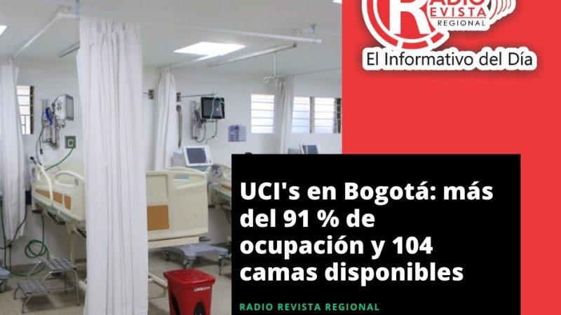UCI's en Bogotá: más del 91 % de ocupación y 104 camas disponibles