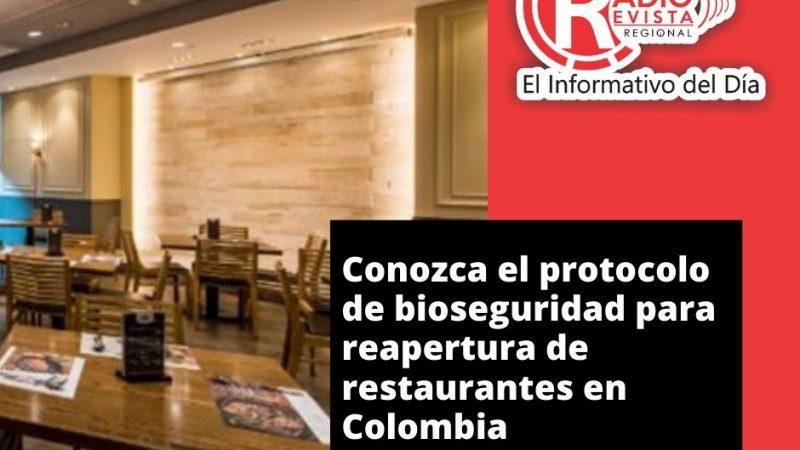 Conozca el protocolo de bioseguridad para reapertura de restaurantes en Colombia