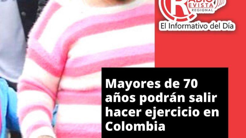 Mayores de 70 años podrán salir hacer ejercicio en Colombia