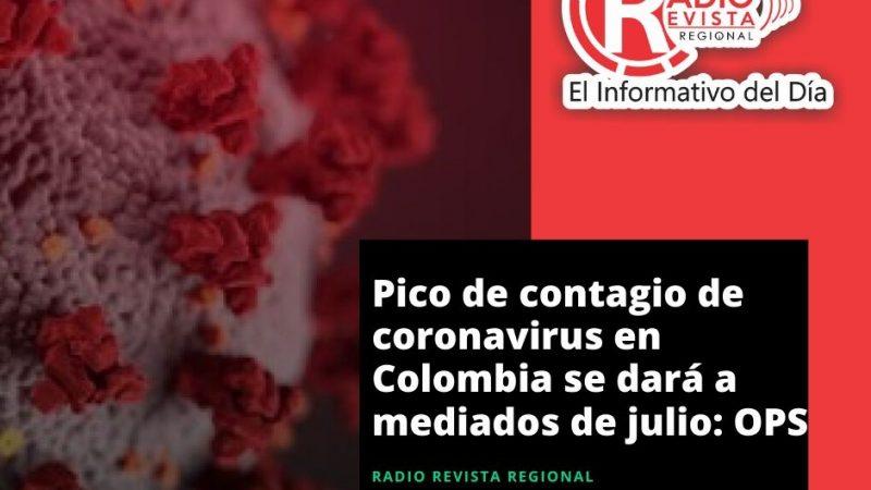 Pico de contagio de coronavirus en Colombia se dará a mediados de julio: OPS