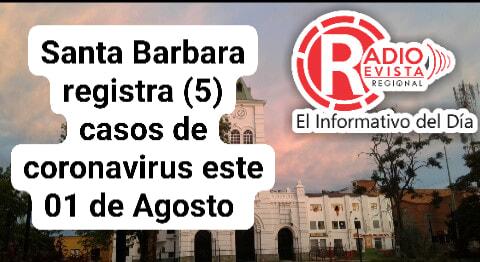 Santa Barbara registra (5) nuevos casos de #coronavirus segun registra informe de la Gobernacion