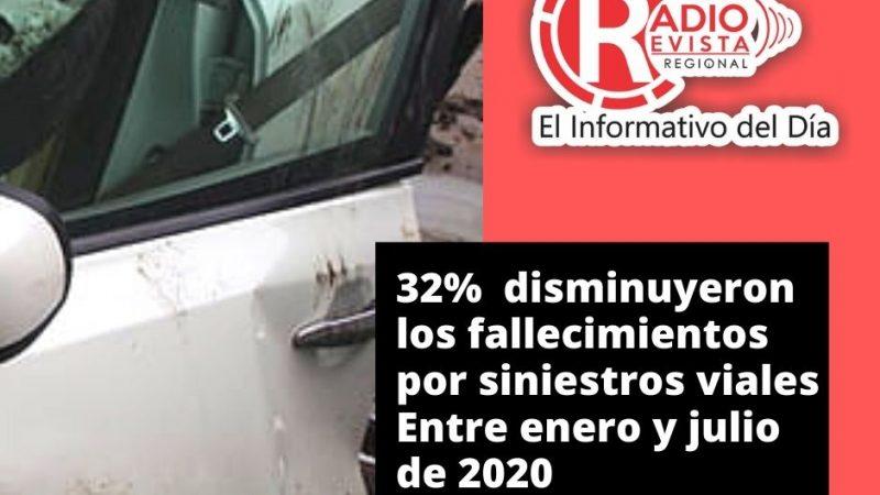 32% disminuyeron los fallecimientos por siniestros viales Entre enero y julio de 2020