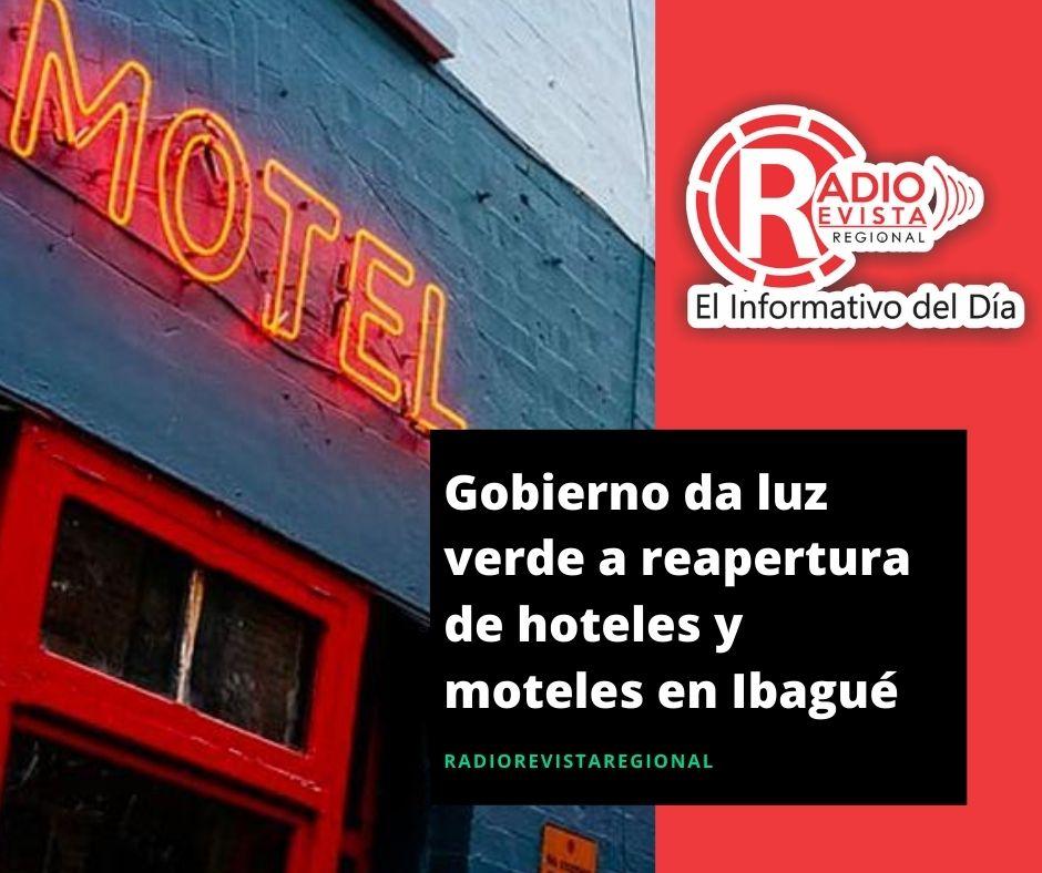 Gobierno da luz verde a reapertura de hoteles y moteles en Ibagué