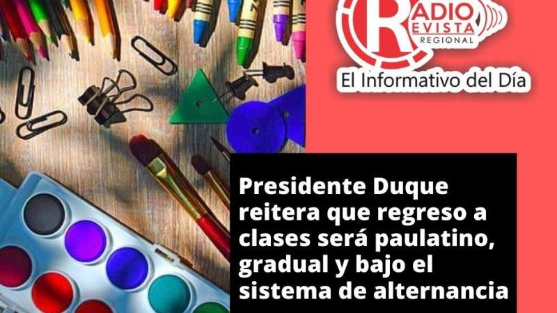Presidente Duque reitera que regreso a clases será paulatino, gradual y bajo el sistema de alternancia