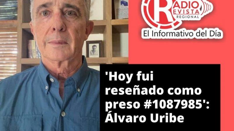 El senador y expresidente Álvaro Uribe publicó este miércoles a través de sus redes sociales que fue reseñado como preso #1087985.