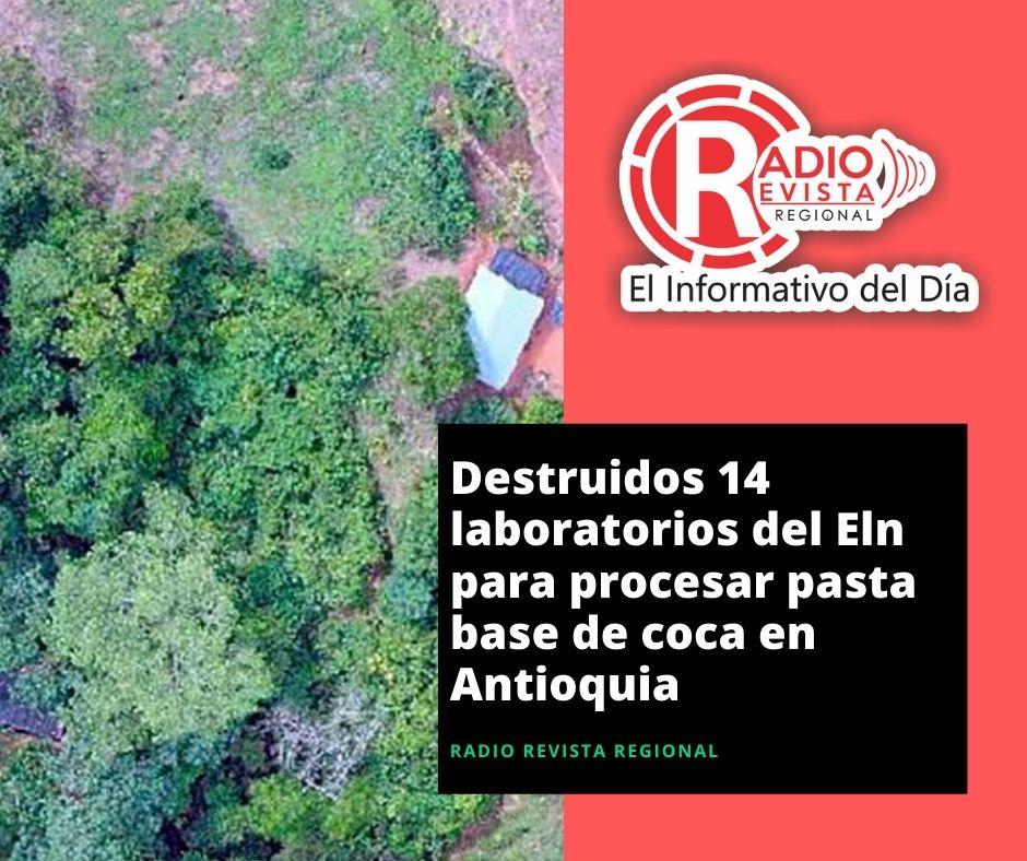 Destruidos 14 laboratorios del Eln para procesar pasta base de coca en Antioquia