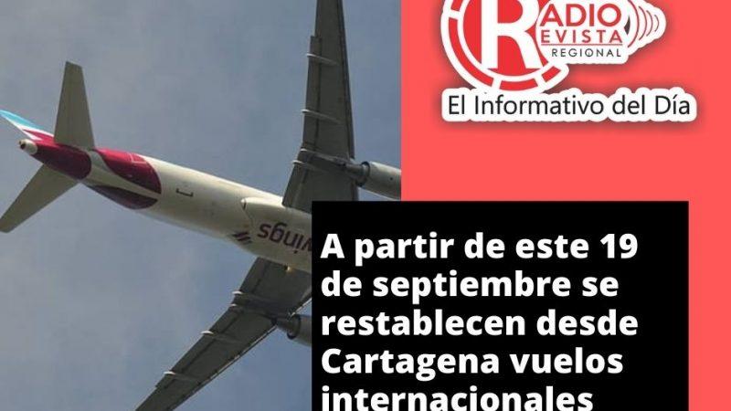 A partir de este 19 de septiembre se restablecen desde Cartagena vuelos internacionales