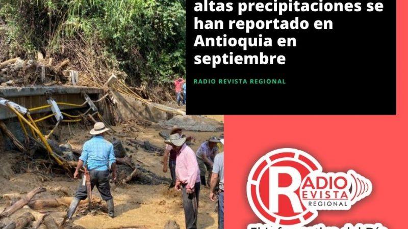 Emergencias por las altas precipitaciones se han reportado en Antioquia en septiembre