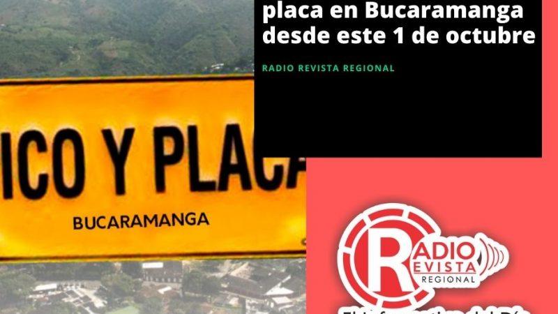 Así queda el pico y placa en Bucaramanga desde este 1 de octubre