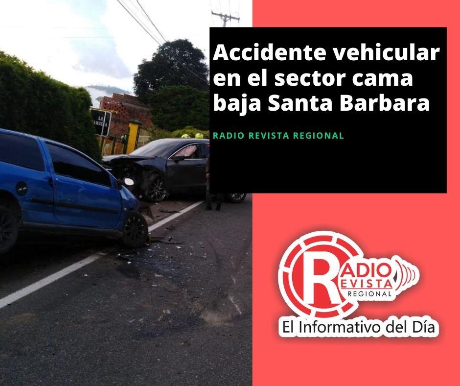 Accidente vehicular en el sector Cama Baja Santa Bárbara Antioquia