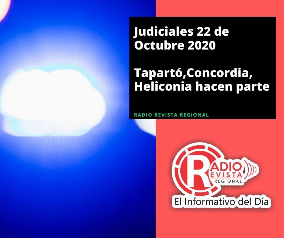 Judiciales 22 de Octubre 2020 Tapartó,Concordia,Heliconia hacen parte