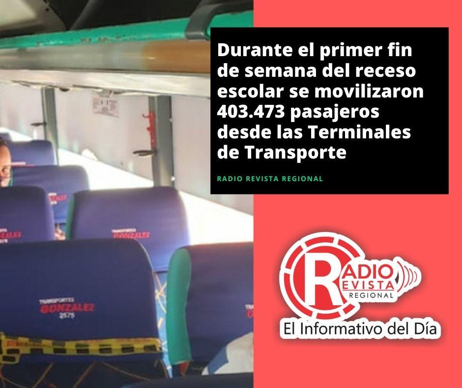 Durante el primer fin de semana del receso escolar se movilizaron 403.473 pasajeros desde las Terminales de Transporte