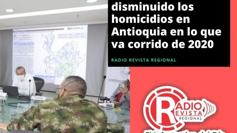 En un 17,2% han disminuido los homicidios en Antioquia en lo que va corrido de 2020