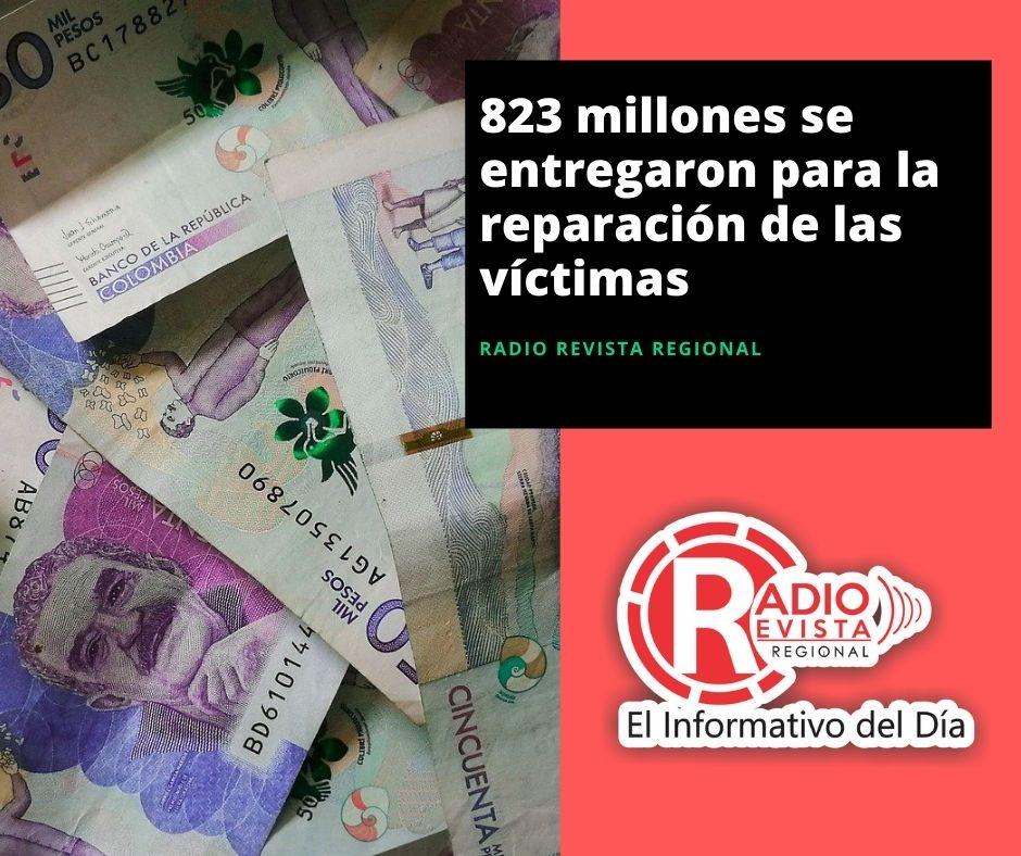 823 millones se entregaron para la reparación de las víctimas