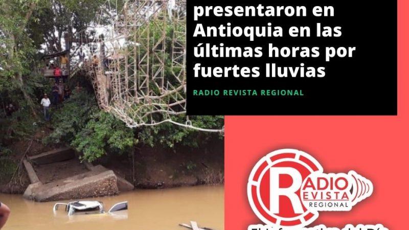 Cinco eventos se presentaron en Antioquia en las últimas horas por fuertes lluvias