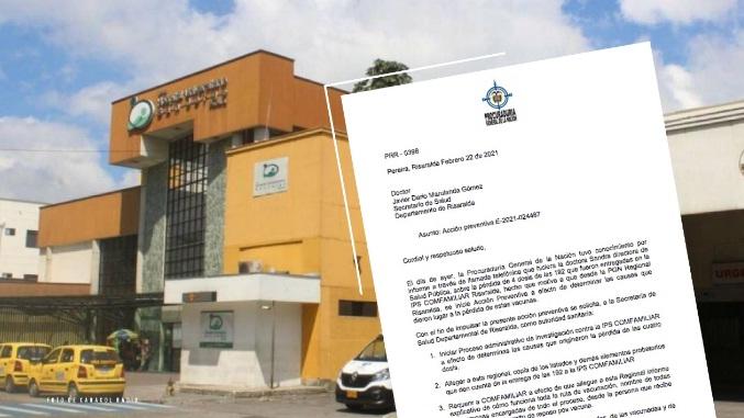 Procuraduría inició acción de vigilancia preventiva en Risaralda por pérdida de cuatro vacunas