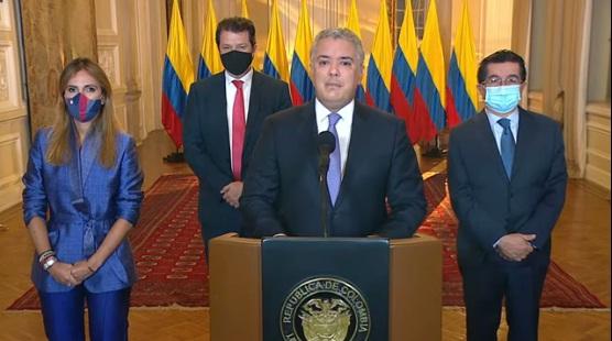 Presidente Iván Duque Márquez anuncia la llegada del primer lote de vacunas al país