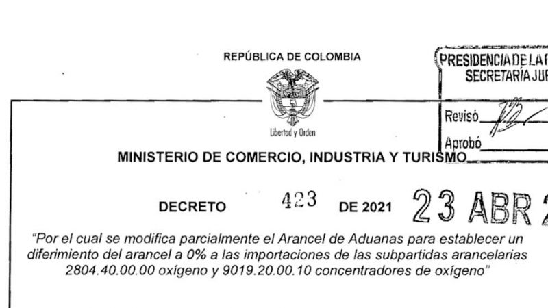 Gobierno Nacional estableció arancel de 0% para la importación de oxígeno y concentradores de oxígeno
