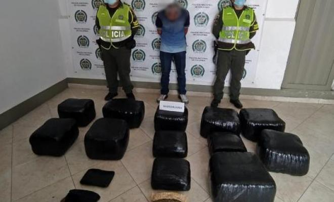 En la vía la Pintada-Medellín se hallaron 2.193 paquetes con 1.500 kilos de marihuana